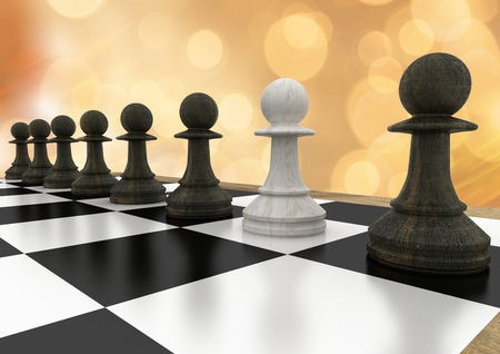tactics: Digital composite of 3D Chess pieces against orange bokeh