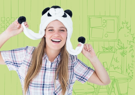 Digital composite of Millennial woman in panda hat against green hand drawn office