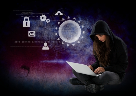 cross legged: Digital composite of Woman hacker using a laptop in front of 3d digital background