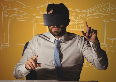 viewing: Digital composite of Business man at desk in virtual reality headset against orange and white hand drawn office Stock Photo