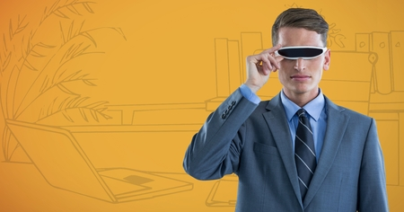 plant stand: Digital composite of Business man in virtual reality headset against yellow hand drawn office Stock Photo
