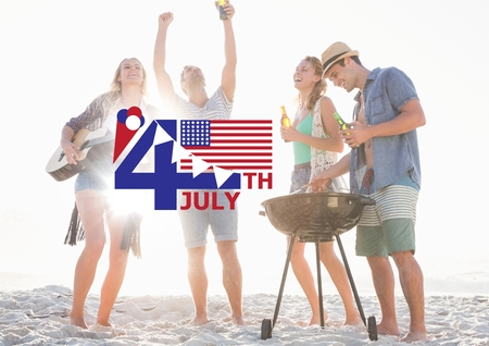 Digital composite of Fourth of July graphic with flags and ice cream against millennials at beach party and flares