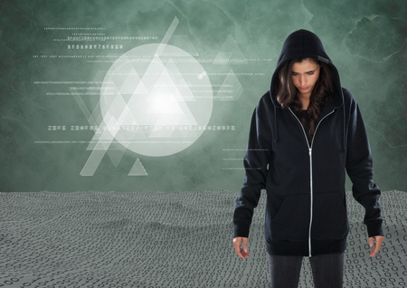 composite: Digital composite of Woman hacker in front of green background