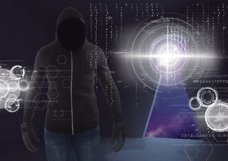 Digital composite of Shadow of hacker standing on in front of 3d digital background