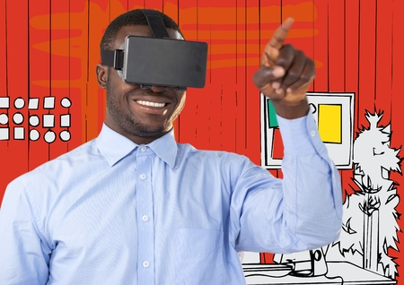 viewing: Digital composite of Business man in virtual reality headset pointing against orange hand drawn office
