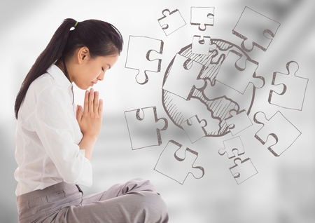 Digital composite of Business woman meditating against 3d blurry grey stairs with jigsaw doodle