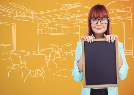 fringe: Digital composite of Millennial woman with chalkboard against orange and white hand drawn office