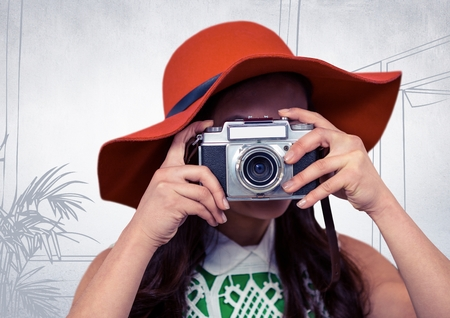 plant stand: Digital composite of Millennial woman with sunhat and camera against white hand drawn office Stock Photo
