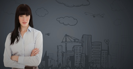 Digital composite of Business woman arms folded against 3d grey background with city doodle Stock Photo