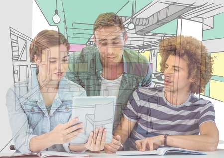 Digital composite of 3 young men and woman looking on the tablet the draw of the new office Stock Photo