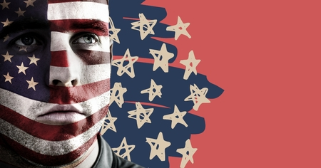 Digital composite of Portraiture of man with american flag face paint against hand drawn star pattern and red background Imagens