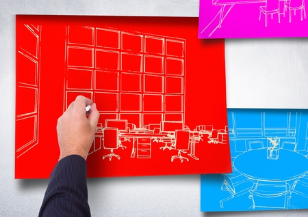 sketch out: Digital composite of 3d hand drawing office white lines on red paper stick on the wall. 2 blueprint more in blue and pink pa