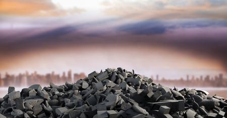 Digital composite of 3D Broken concrete stone pile  in cityscape