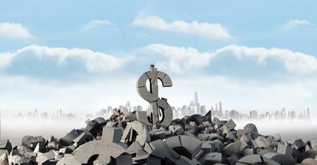innumerable: Digital composite of 3D Broken concrete stone with money dollar symbol in cityscape Stock Photo