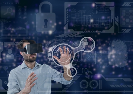 simulator: Digital composite of Man in VR headset touching interface against purple interface background Stock Photo