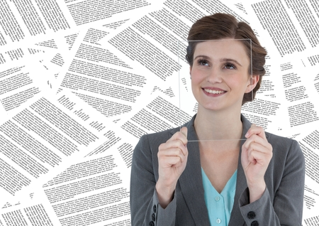 Digital composite of Business woman with glass device over face against document backdrop