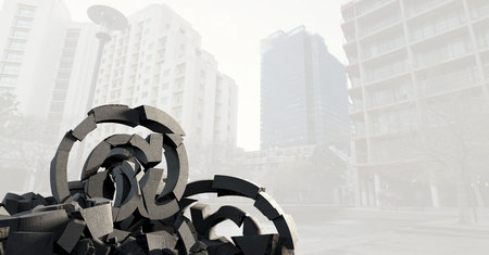 Digital composite of 3D Broken concrete stone with at symbol in cityscape Reklamní fotografie