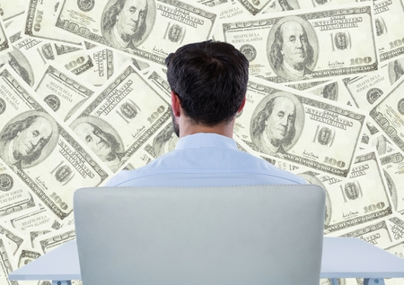 pretending: Digital composite of Back of business man in chair looking at money backdrop