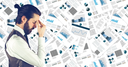 large group of business people: Digital composite of Frustrated business man against document backdrop