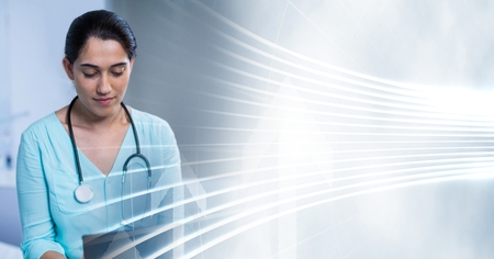 touching: Digital composite of Doctor using tablet with white interface transition