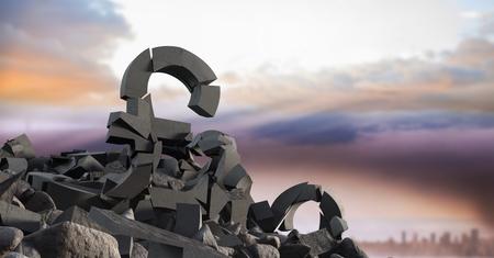 Digital composite of 3D Broken concrete stone with money pound symbol  in cityscape