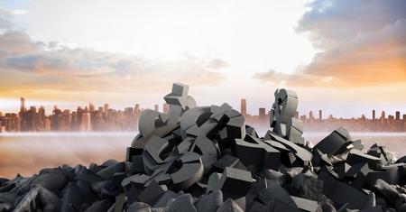 innumerable: Digital composite of 3D Broken concrete stone with money symbol  in cityscape