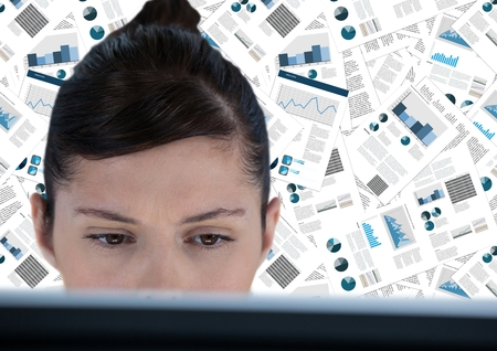 large group of business people: Digital composite of Close up of woman at computer against document backdrop