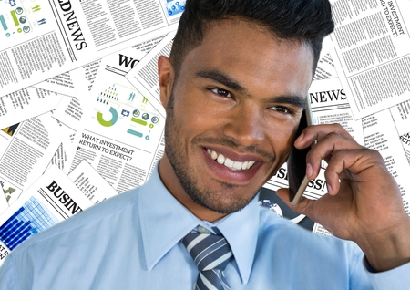 large group of business people: Digital composite of Close up of man on phone against document backdrop