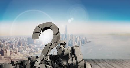 heap: Digital composite of 3D Broken concrete stone with Question symbol  in cityscape
