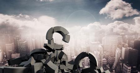heap: Digital composite of 3D Broken concrete stone with pound symbol in cityscape
