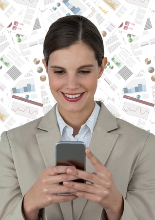Digital composite of Business woman with phone against document backdrop Stock Photo