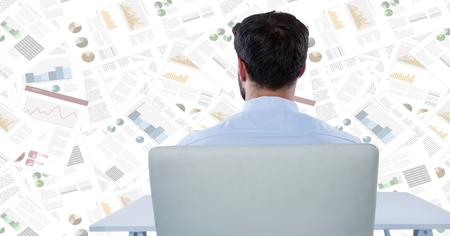 pretending: Digital composite of Back of business man at desk against document backdrop