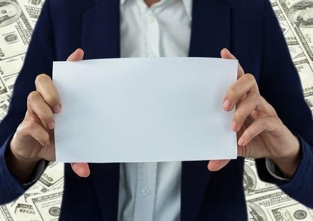 large group of business people: Digital composite of Business woman mid section with blank card against money backdrop Stock Photo