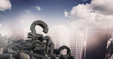 Digital composite of 3D Broken concrete stone with pound money symbol  in cityscape