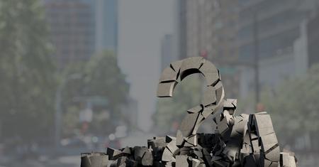 Digital composite of 3D Broken concrete stone with Question symbol  in cityscape