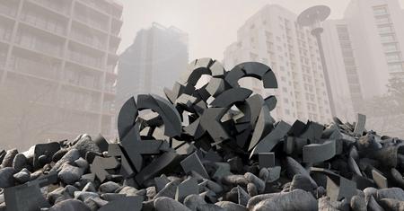 Digital composite of 3D Broken concrete stone with money pound symbol in cityscape Reklamní fotografie