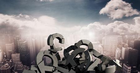 Digital composite of 3D Broken concrete stone with money pound symbol in cityscape Stock fotó