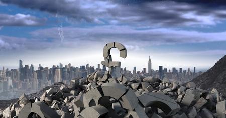 Digital composite of 3D Broken concrete stone with money pound symbol in cityscape Stock Photo