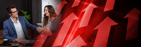 Digital composite of Business meeting with black and red arrow transition Reklamní fotografie