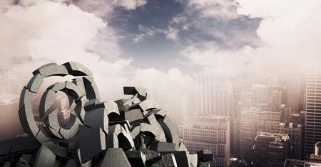 Digital composite of 3D Broken concrete stone with at symbol  in cityscape