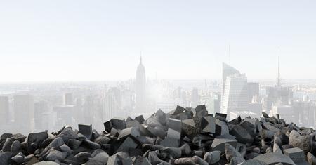 デジタル ・ コンポジット壊れたコンクリート杭と景観