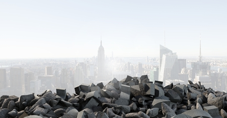 Digital composite of Broken concrete pile and in cityscape Stok Fotoğraf