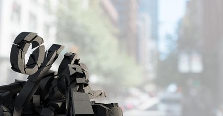 Digital composite of 3D Broken concrete stone with percentage symbol  in cityscape