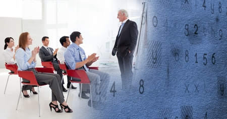 applauding: Digital composite of Business conference with blue texture transition Stock Photo
