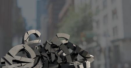 Digital composite of 3D Broken concrete stone with money euro symbol  in cityscape