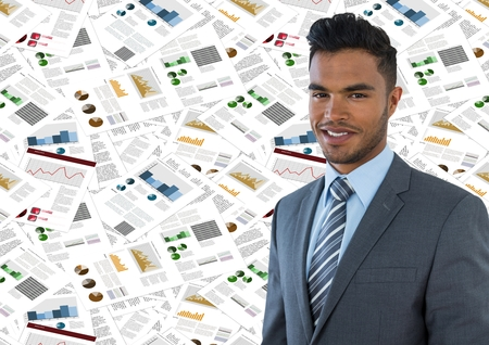 Digital composite of Business man against document backdrop Stock Photo