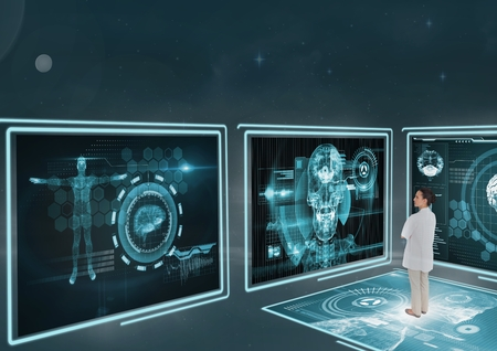 folded arms: Digital composite of Woman doctor looking at medical interfaces 3d