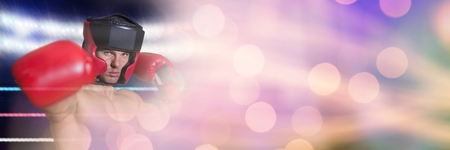Digital composite of Boxer fighter man with sparkling lights bokeh transition 3d Stock Photo