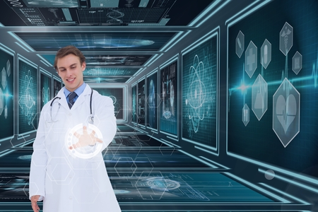 dna smile: Digital composite of Man doctor interacting with interfaces against background with medical interfaces 3d Stock Photo
