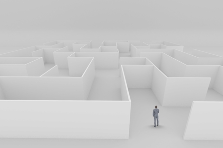 Digital composite of Man standing in a maze 3d